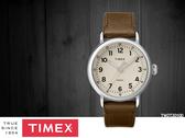 【時間道】TIMEX天美時 經典簡約復刻腕錶– 淺卡其面仿舊棕皮(TW2T20100)免運費