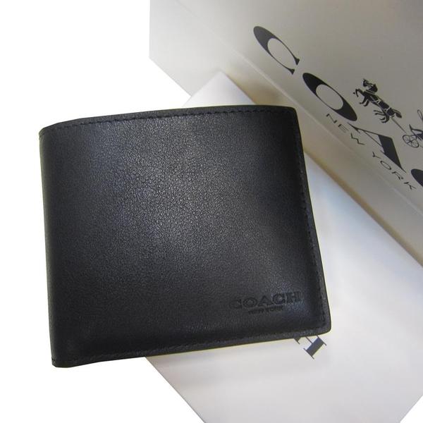 ~雪黛屋~COACH 男仕短夾國際正版保證進口防水防刮皮革二折主袋品證購證盒塵套提袋現貨即出貨