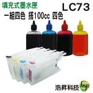 【短版空匣+100cc填充墨水四色一組】Brother LC73 填充式墨水匣 適用於MFC 6710/6910DW