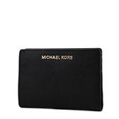 美國正品 MICHAEL KORS 專櫃款 防刮皮革證件卡夾/零錢包-附名片夾/黑色 【現貨】