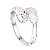甜美可愛兔子戒指 女生銀指環芙蓉石開口 粉水晶飾品《小師妹》ps479