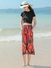 寬管褲裙褲女褲夏季薄款寬鬆防蚊大人棉綢七分九分海邊度假沙灘褲 黛尼時尚精品