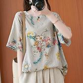 棉麻上衣 復古中國風印花棉麻短袖T恤女夏薄款寬鬆大碼百搭休閒亞麻料上衣 伊蘿 99免運