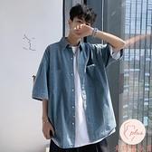 牛仔襯衫男夏季薄款短袖襯衣日系百搭寬松外套【大碼百分百】