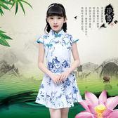 女童旗袍2019夏季新款兒童中國民族風連身裙時尚短袖公主風洋裝 CJ2324『毛菇小象』