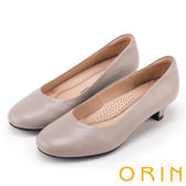 ORIN 簡約時尚OL 素面牛皮百搭素面低跟鞋-灰色