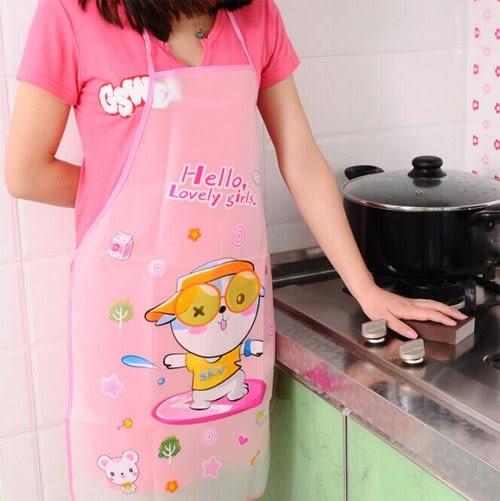 【超取199免運】可愛卡通防水防油圍裙 韓版時尚廚房無袖圍裙