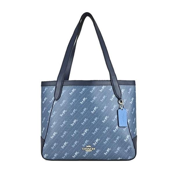 【南紡購物中心】COACH 新款印花馬車塗鴉手提/肩背包(牛仔藍)