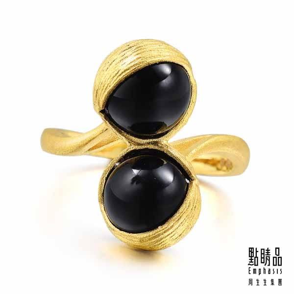 點睛品 g*collection系列 圓形黑玉髓黃金戒指