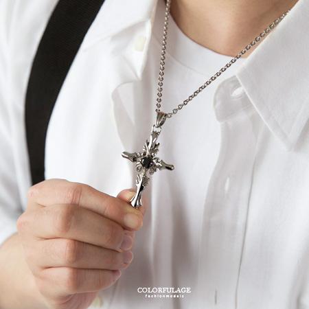 項鍊 質感雕紋黑鑽十字架造型白鋼項鍊 立體感十足 抗過敏.氧化 柒彩年代【NB692】細緻呈現