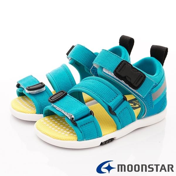 日本Moonstar機能童鞋  2E輕量涼鞋款 22279藍(中小童段)