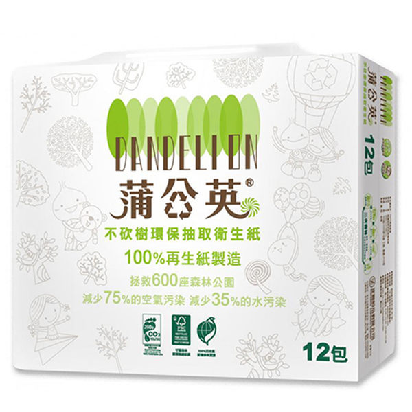蒲公英 環保抽取式衛生紙(100抽*12包*6串/箱)-箱購