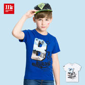 JJLKIDS 男童 滑板少年造型英字燙印短袖上衣 T恤(2色)