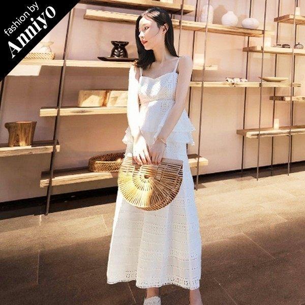 Anniyo安妞‧韓版時尚氣質甜美細肩帶棉質緹花高腰雙層裙擺上衣+闊腿褲長褲兩件套裝褲裝 白色