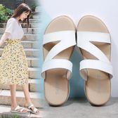 2019夏季新款真皮休閒舒適平底平跟涼拖鞋女時尚外穿防滑一字拖鞋