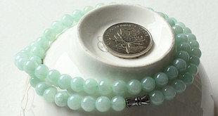 玉石玉器翡翠玉珠項鏈女款翡翠淺綠圓珠子