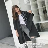 雙排扣開叉寬鬆顯瘦繫帶七分袖過膝風衣女中長款外套女裝新款 時尚芭莎
