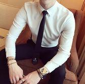 長袖襯衫-秋季韓版英倫男士潮流百搭長袖襯衫青年男裝時尚修身純色上班襯衣現貨清倉5-30