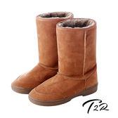 【韓國T2R】秋冬韓系女孩必備經典款內裡毛茸茸雪靴 內增高↑7cm 棕 5500-0619(原裝進口)