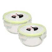 KUMAMON 熊本熊圓型玻璃保鮮盒二入