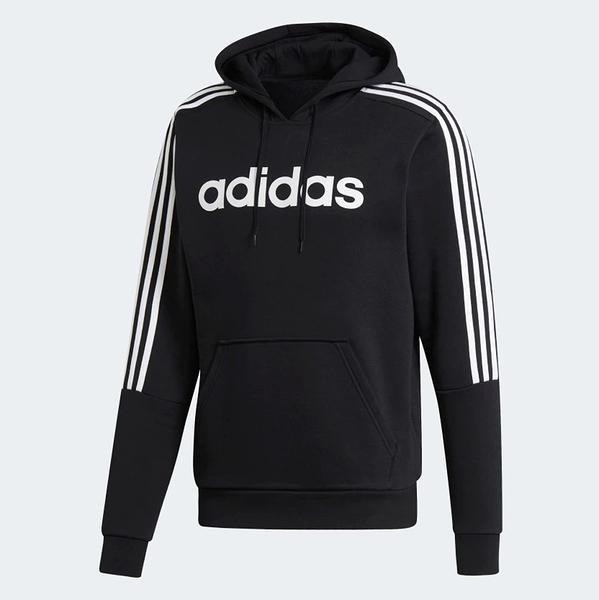 ADIDAS  M HD SWEAT 黑 白三線 英文logo 刷毛帽T 男 (布魯克林) EI8984