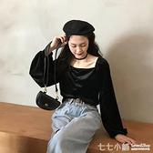 衣服秋季款2020新款韓版寬鬆復古打底衫上衣黑色百搭長袖T恤女ins