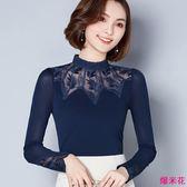 新款百搭蕾絲衫鏤空拼接網紗打底衫大碼女小衫