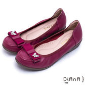 DIANA 日雜百搭--高質感異材質蝴蝶結真皮楔型鞋(紅)★零碼出清只供退貨恕無法換貨★