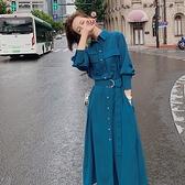 洋裝女2020新款夏季法式復古收腰顯瘦氣質設計感小眾春秋襯衫裙 【年貨大集Sale】