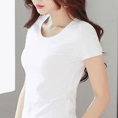 T恤 白色t恤女短袖緊身純棉2021年t桖夏季新款半袖修身薄款打底衫上衣