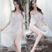 透明性感情趣內衣白色雪紡長裙睡裙高開叉誘惑透視睡衣制服套裝女 私密衣物不退不換
