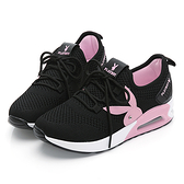 PLAYBOY 舒適主打 針織綁帶氣墊休閒鞋-黑粉(Y6238)