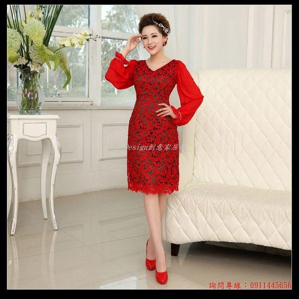 (45 Design客製化) 定做7天到貨紅色春夏季複古新娘敬酒服鏤空蕾絲短款高腰孕婦旗袍禮服韓版
