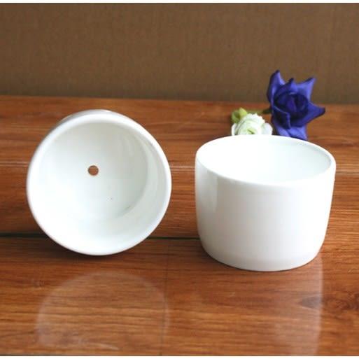 ⓒ全白小圓形陶瓷花盆 多肉植物盆栽【BI10006】