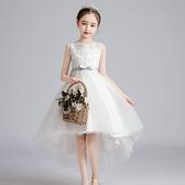 花童拖尾婚禮禮服女童洋裝公主裙兒童仙女裙春夏季新款婚紗無袖 幸福第一站