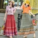 洋裝半身裙長裙 中國風美裙美女裝拼接繫帶碎花條紋a裙2020年新款夏季 新年優惠