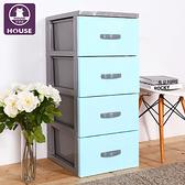 ~HOUSE ~泡泡糖四層玩具衣物收納櫃多色 藍色