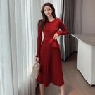 第二件4折 韓系針織修身名媛網紗拼接毛衣收腰長袖洋裝