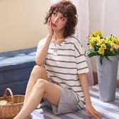 海外直發不退換睡衣居家服夏季純棉睡衣套裝女短袖短褲甜美兩件套可外穿5233#(M602D)