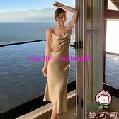 吊帶連身裙女夏法式氣質性感三露背海邊度假裙【桃可可服飾】