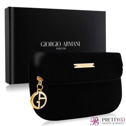 GIORGIO ARMANI 時尚經典黑色手拿包晚宴包附禮盒-精品質感【美麗購】