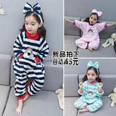 女童連體睡衣秋冬卡通嬰兒女寶寶兒童小童法蘭絨珊瑚絨   走心小賣場