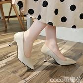 貓跟鞋尖頭中跟單鞋女2020春秋軟皮高跟鞋淺口百搭ol黑色細跟貓跟工作鞋 夏季上新