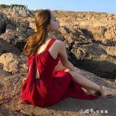 度假沙灘裙女夏波西米亞長裙性感露背吊帶裙子紅色洋裝