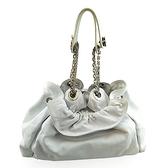 【奢華時尚】DIOR 白色全皮銀鍊肩背黛妃水桶包(九成新)#25155