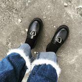 娃娃鞋 春秋日系原宿軟妹少女愛心搭扣低跟學生圓頭小皮鞋 果實時尚