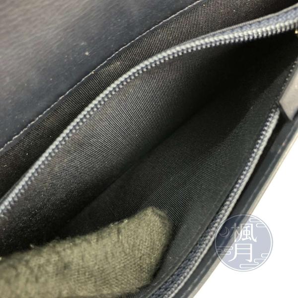 BRAND楓月 CHANEL 香奈兒 22開 深藍色 經典 銀釦 山型紋 BOY 對開 長夾 錢夾 錢包 發財夾
