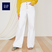 Gap女裝 純色簡約寬管牛仔長褲 443230-白色