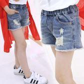 新年鉅惠女童牛仔短褲破洞夏季女孩時尚童裝中大童韓版歲薄款熱褲 芥末原創