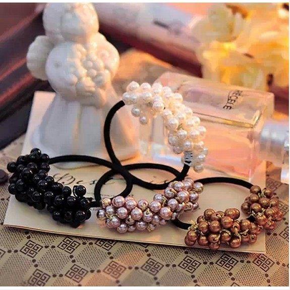 ►韓國編織串珠小珍珠髮繩髮髮飾頭飾圈皮筋【B5091】
